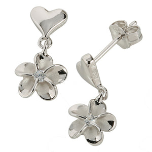 Sterling Silver Rhodium Heart Plumeria Stud Earring 8mm