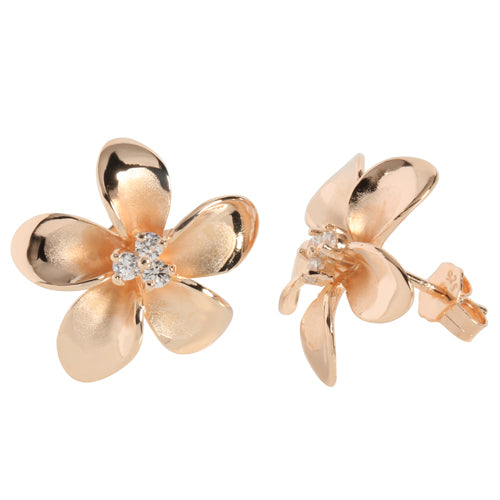 18mm Plumeria Pink Gold Plated Sterling Silver Three CZ Stud Earring