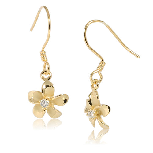 10MM Prong Setting CZ Sterling Silver Plumeria Hook Earring Yellow Gold Plated
