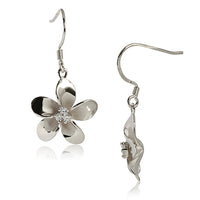 18MM Prong Setting CZ Plumeria Hook Earring Sterling Silver rhodium plated