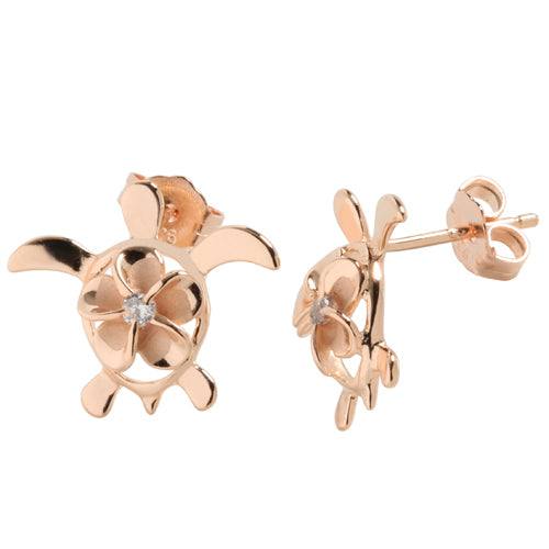 Sterling Silver Pink Gold 8mm Plumeria in Honu Stud Earring