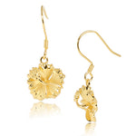 Yellow Gold Plated Sterling Silver Hibiscus Hook Earring 12mm