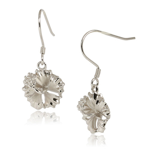 Rhodium Sterling Silver Hibiscus Hook Earring 12mm