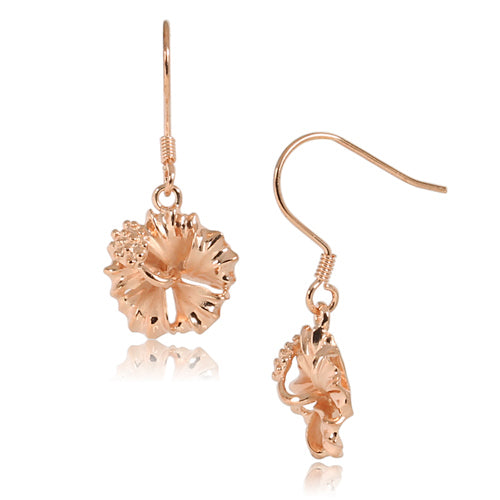 Pink Gold Plated Sterling Silver Hibiscus Hook Earring 12mm