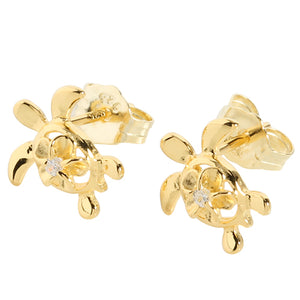 4mm Plumeria in Honu Yellow Gold Plated Sterling Silver Stud Earring