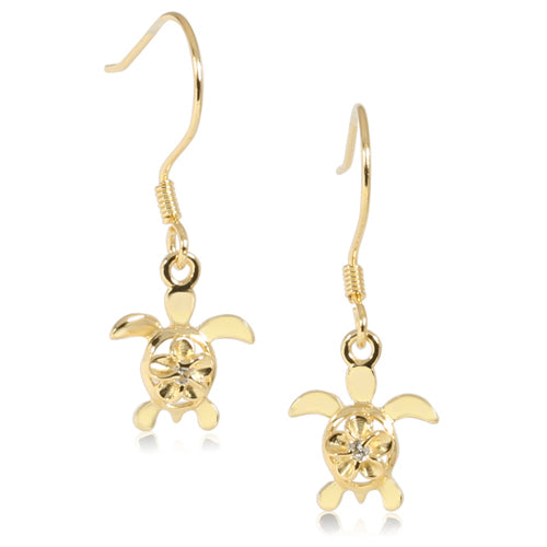 4mm Plumeria in Honu Yellow Gold Plated Sterling Silver Hook Earring