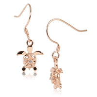 4mm Plumeria in Honu Pink Gold Plated Sterling Silver Hook Earring