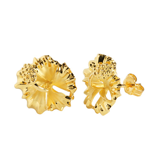 Sterling Silver 12mm Hibiscus Stud Earring Yellow Gold Plated
