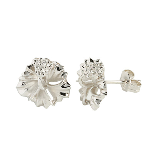 Sterling Silver 12mm Hibiscus Stud Earring rhodium plated