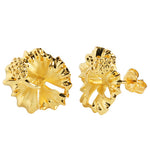 Sterling Silver 15mm Hibiscus Stud Earring Yellow Gold Plated