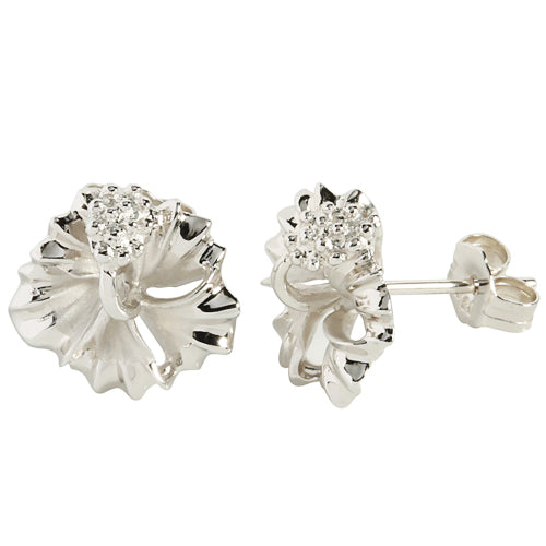Sterling Silver 15mm Hibiscus Stud Earring rhodium plated
