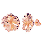 Sterling Silver 15mm Hibiscus Stud Earring Pink Gold Plated
