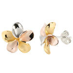Sterling Silver 15mm Plumeria Tri-Color Stud Earring