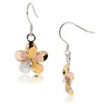 Sterling Silver 15mm Plumeria Tri-Color Hook Earring no CZ