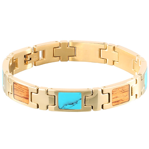Yellow Gold Plated Turquoise Koa Wood Inlay Bracelet - Makani Hawaii Jeweler