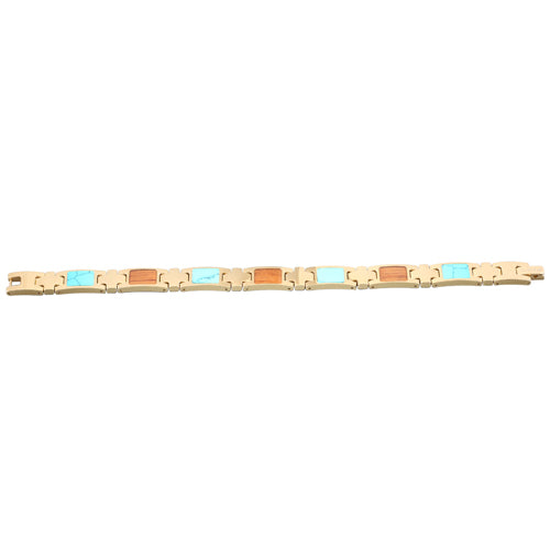 Yellow Gold Plated Turquoise Koa Wood Inlay Bracelet