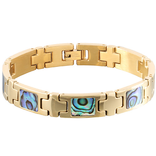 Yellow Gold Plated Abalone Inlay Bracelet
