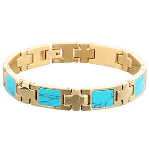 Yellow Gold Plated Turquoise Inlay Bracelet