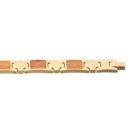Yellow Gold Plated Koa Wood Inlay Bracelet