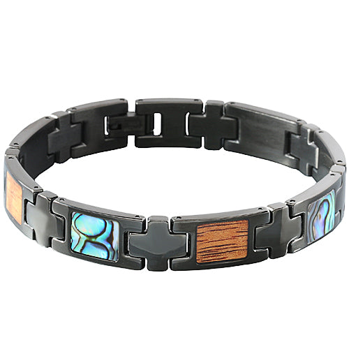 Koa Wood Abalone Inlay Bracelet Iron Plated Black