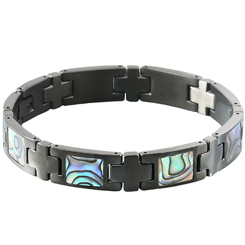 Abalone Inlay Bracelet Iron Plated Black