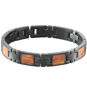 Koa Wood Inlay Bracelet Iron Plated Black