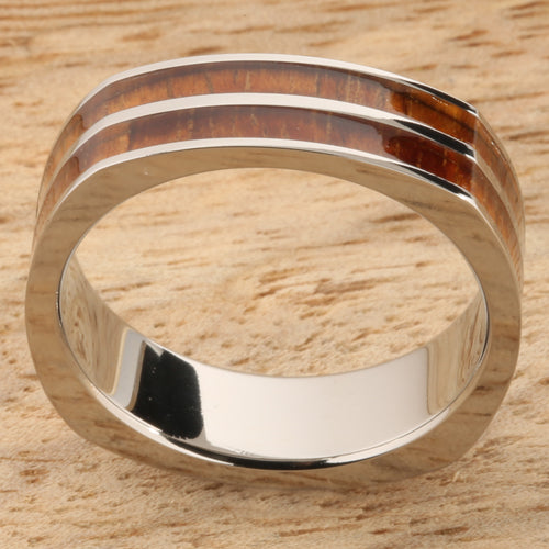Koa Wood Titanium Wedding Ring Double Row Square 6mm