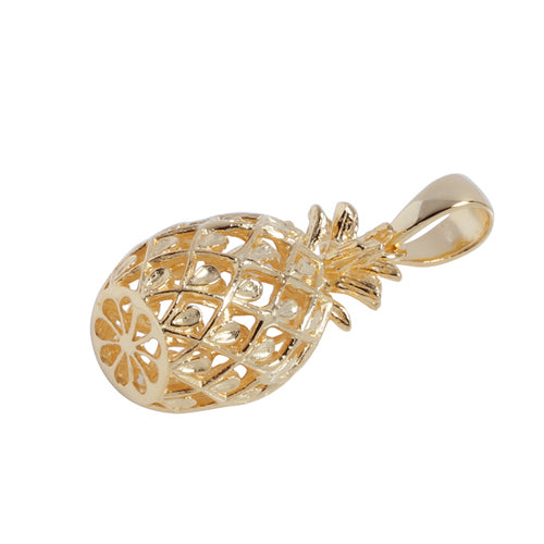 Yellow Gold Plated Sterling Silver Pineapple Pendant (M)
