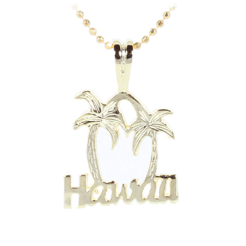 yellow gold palm tree pendant