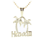 Yellow Gold Plated Sterling Silver HAWAII Palm Tree Pendant