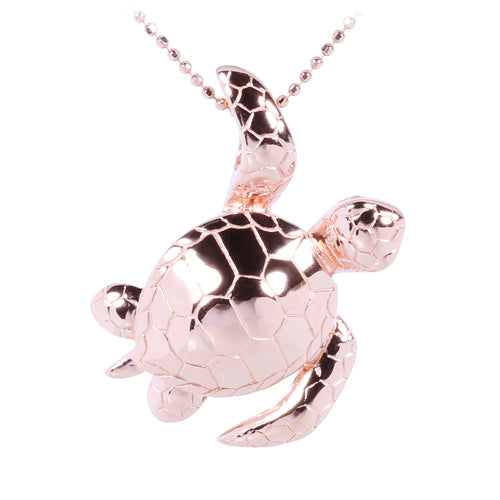 Pink Gold Plated Sterling Silver Leg-Up Turtle Pendant