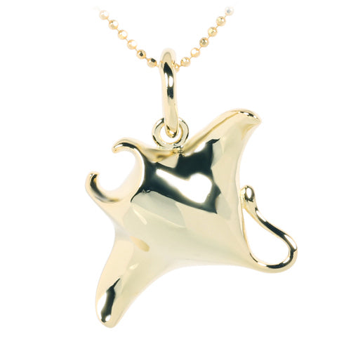 Yellow Gold Plated Sterling Silver Shiny Manta Ray Pendant