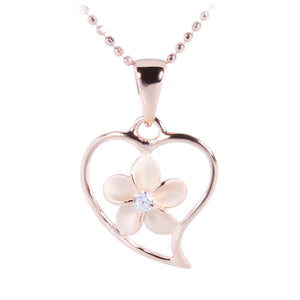 Pink Gold Plated Sterling Silver Simple Heart w/Plumeria Pendant