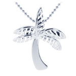 Sterling Silver Rhodium Shiny Palm Tree Pendant