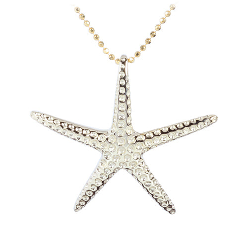 Yellow Gold Plated Sterling Silver Starfish Pendant(L)