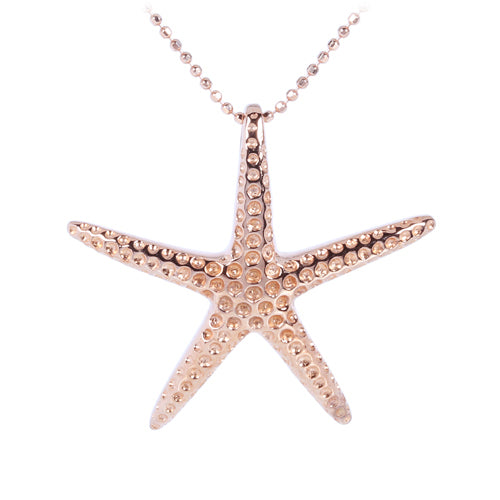 Pink Gold Plated Sterling Silver Starfish Pendant(L)