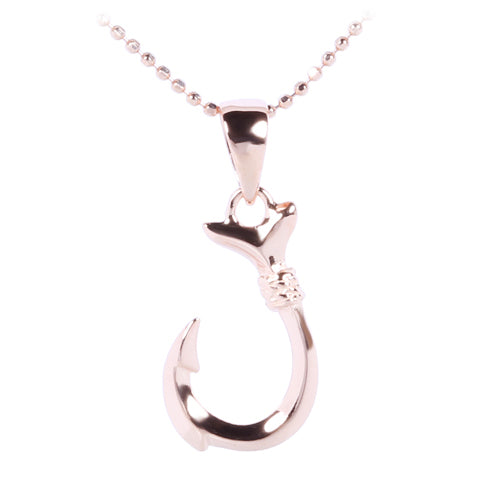 Pink Gold Plated Sterling Silver Small Fish Hook Pendant