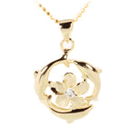 Yellow Gold Plated Sterling Silver Swimming Circle Dolphins w/Plumeria Pendant