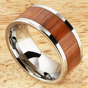 10mm Natural Hawaiian Koa Wood Tungsten Ring Flat Shape Comfort Fit