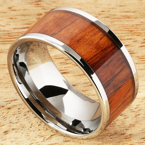 Extra Wide Koa Wood Tungsten Ring Flat 12mm Band Hawaiian Ring