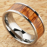 8mm Natural Hawaiian Koa Wood Inlaid Tungsten Flat Wedding Ring