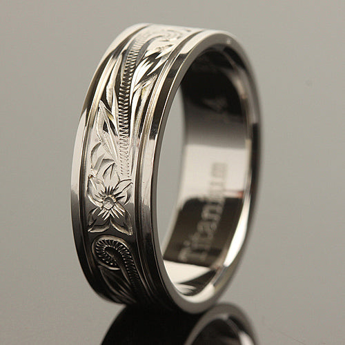8mm Hawaiian Scroll Titanium Wedding Ring
