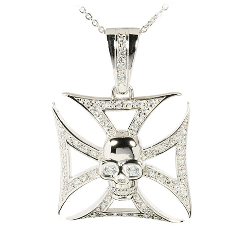 Sterling Silver CZ Inlay Square Cross with Skull Pendant