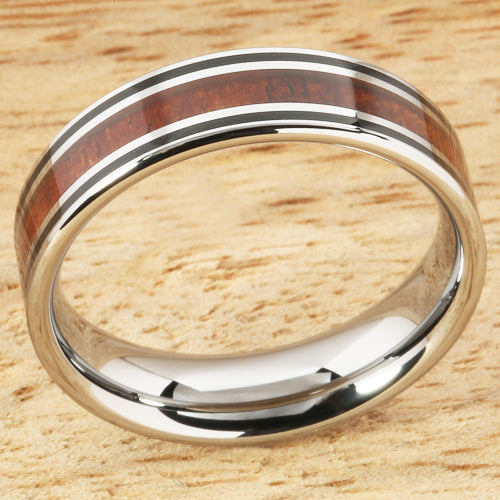 6mm Natural Hawaiian Koa Wood Inlaid Tungsten Double Line Wedding Ring