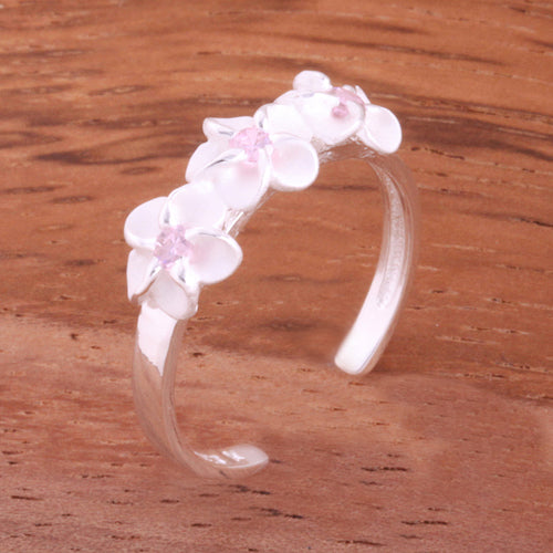 Three 4mm Plumeria with Clear CZ Toe Ring