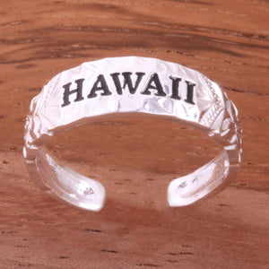 Hawaiian Scroll HAWAII Cut Out Edge Toe Ring