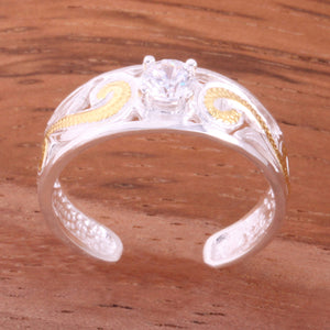 Hawaiian Scroll See Through with Clear Round CZ Toe Ring
