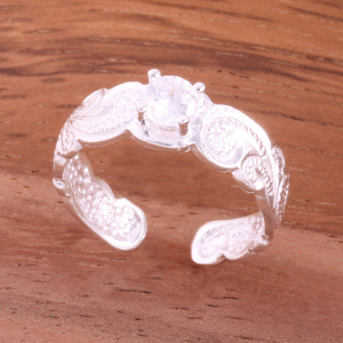 Hawaiian Scroll with Clear Round CZ Cut Out Edge Toe Ring