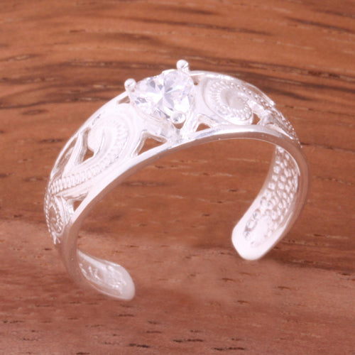 Hawaiian Scroll See Through with Clear Heart CZ Toe Ring