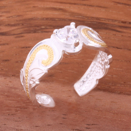 Hawaiian Scroll with Clear Heart CZ Cut Out Edge Toe Ring